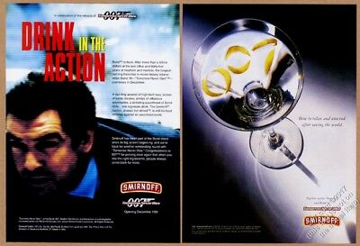 1997 James Bond 007 Tomorrow Never Dies movie theme Smirnoff Vodka print ad