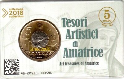 NEW !!! 5 EURO COMMEMORATIVO ITALIA 2018 Tesori Artistici di AMATRICE in Folder