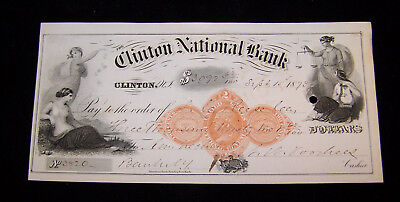 Vintage Clinton National Bank  Check  1873  New Jersey  Engraved