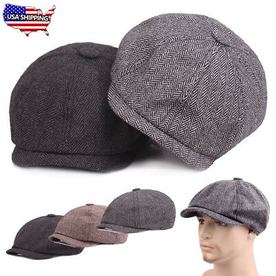 Mens Herringbone Applejack Wool Blend Newsboy Ivy Hat Gatsby Cap Golf  Driver US aaaefede00d