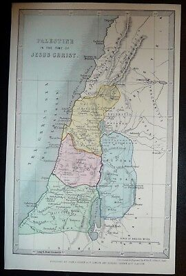 1852  - PALESTINE IN THE TIME OF JESUS CHRIST - Small Hand Coloured Map.