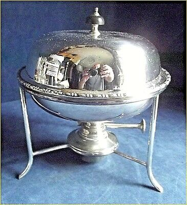 GOOD Complete ~ SILVER Plated ~ Warming PAN on STAND ~ c1900