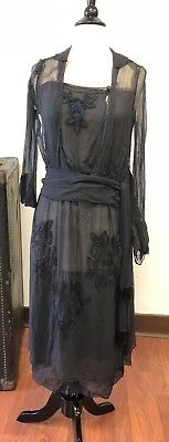 Antique Vintage Black Chiffon Beaded and Embroidered Dress Tasseled Sash
