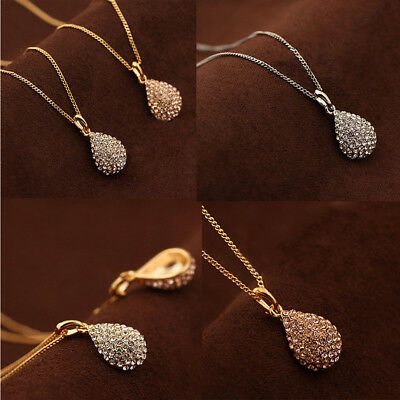 Women Fashion Gold Silver Crystal Pendant Long Chain Plated Statement Necklace