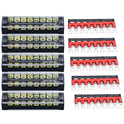 URBEST Terminal Block Barrier Strip 5Pack Dual Row 600V 25A 8 Position Screw and