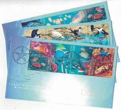 1998 Christmas Island Marine Life SG 443/62 FU or FDC Set of 3 covers