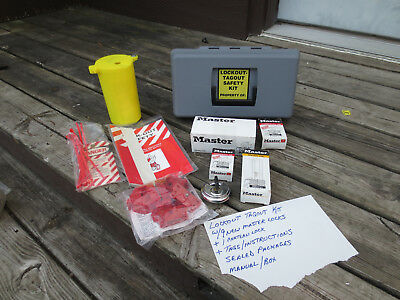 Lockout/Tagout Tags Mixed Lot Set Kit Unused w/ 9 New Master Padlocks