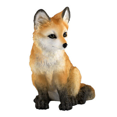 "Mini Sitting Red Fox Pup Kit Figurine 3"" High Detailed Polystone New In Box"