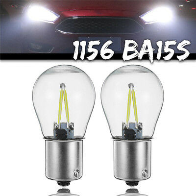 Replacement 2x 1156 BA15S P21W COB White LED Turn Signal Light Lamp Bulb 12V-24V