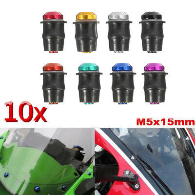 10xMotorcycle M5 15mm Well Nuts Windscreen Windshield Fairing Cowl Metric Rubber