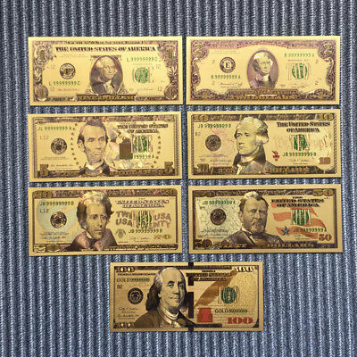 7pcs/Set Paper Money USA Dollars Collection Banknotes Gold Foil Bill Craft Art