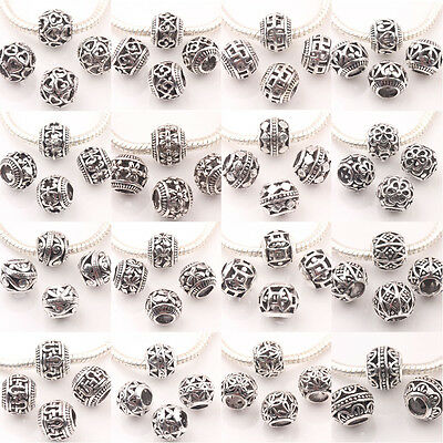 10/20Pcs Round Striped Tibetan Silver Loose Spacer Beads Jewelry Findings 10MM