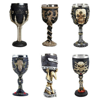 3D Vintage Skull Wine Glass Whiskey Beer Cup Halloween Party Bar Drinkware Decor