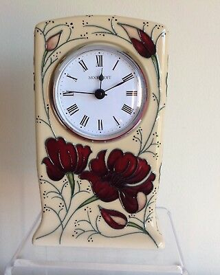 "Moorcroft Pottery Tube Lined ""Chocolate Cosmos"" Flowers Clock Working"