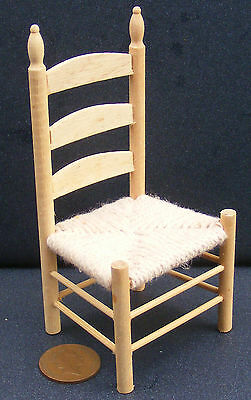 1:12 Scale Natural Finish Wooden Rush Seat Kitchen Chair Tumdee Dolls House 092