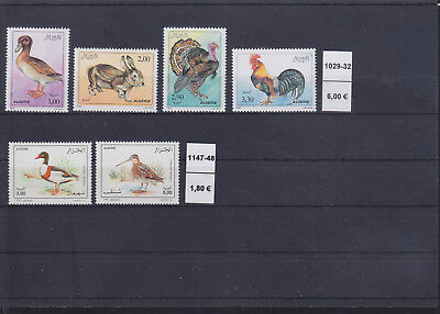 065289 Vögel Birds Algerie 1029-32 + 1147-48 ** MNH Year 1990 + 1995