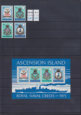 065319 Schiffe Ships Wappen Coat of Arms Ascension 152-55 + Block 3 ** MNH 1971