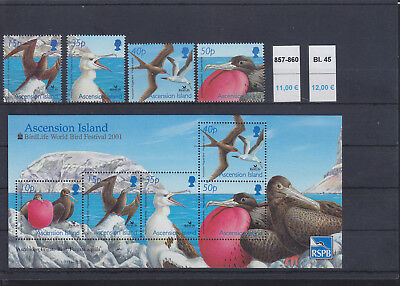 065333 Vögel Birds Ascension 857-60 + Block 45 ** MNH Year 2001