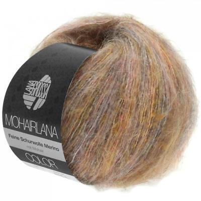 Lana Grossa Mohairlana Color 25 gramm Knäuel  Farbe 101 taupe/hellorange