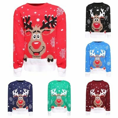 Kids Children's Girls Boys Star Rudolph on the Wall Christmas Novelty Jumper