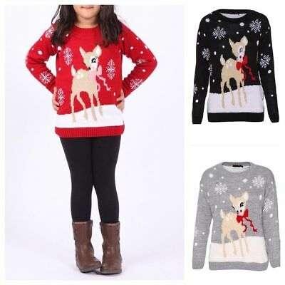 Kids Boys Girls Xmas Jumper Unisex Bambi Baby Deer Design Christmas Jumpers