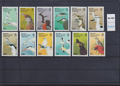 065379 Vögel Birds BIOT British Indian Ocean Territory 94-105 ** MNH Year 1990