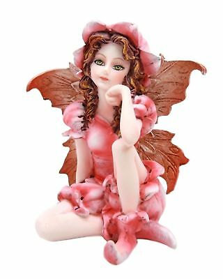 "Miniature Azalea Pink Garden Fairy Figurine Statue 3"" H Small Faery Collection"