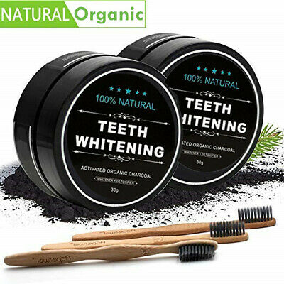 2 PACK Activated Charcoal Teeth Whitening Carbon Coconut Shell Powder Kit AU