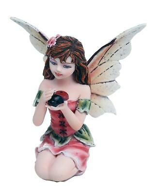 "Miniature Garden Fairy Whispering Ladybug Figurine  3"" H Small Faery Collection"