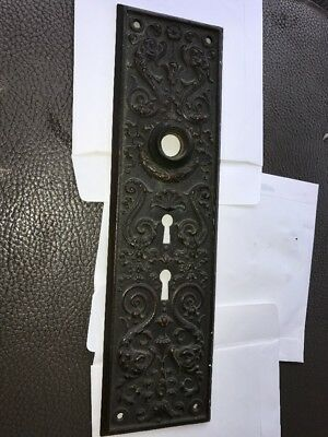 1800s Ornate Brass Door Plate Shell Flower Dolphins Double Key