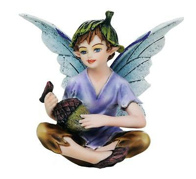 "Miniature Garden Boy Fairy w Acorn Harvest Figurine  3"" H Small Faery Collection"