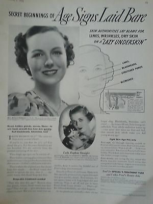 1936 Ponds Cream Miss Barbara Hebbard Lady Daphne Straight Age Signs Print Ad