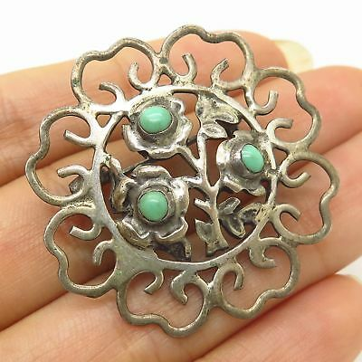 Vtg Mexico Signed 925 Sterling Silver Real Turquoise Floral Design Pin Brooch