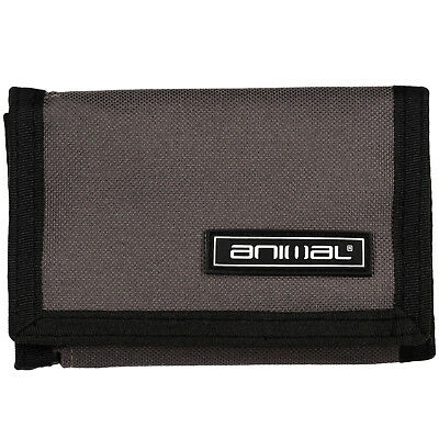 Animal Mens Prevail Tri-Fold Velcro Coin Note Card ID Organiser Wallet - Grey