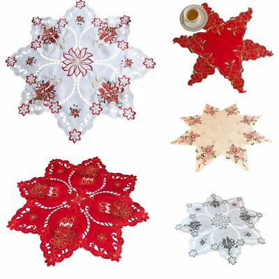 Christmas Star Tablecloth White Red with Candles and Bells Small 48cm Large 85cm
