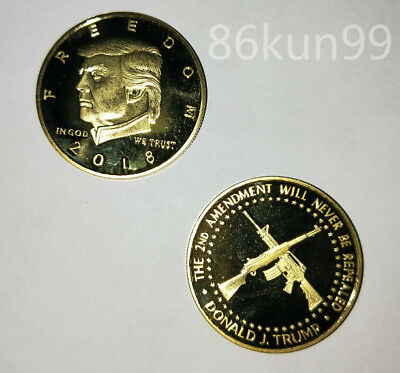NEW 2018 President Donald Trump Gold Plated Commemorative Coin