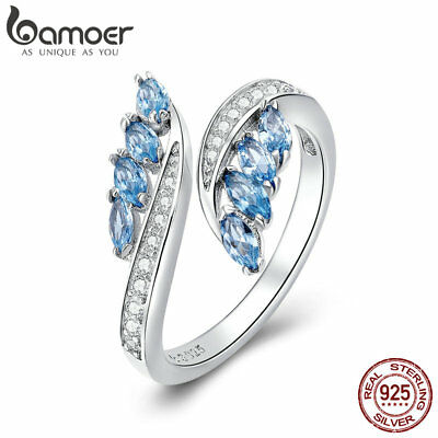 BAMOER solid S925 Sterling Silver Ring Elegant Willow With Blue AAA CZ for Women