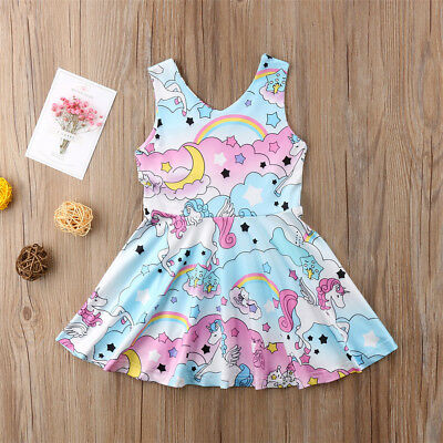 Girl's Toddler  Unicorn Rainbow Casual Dress Size 2T-6Y (Free Shipping)