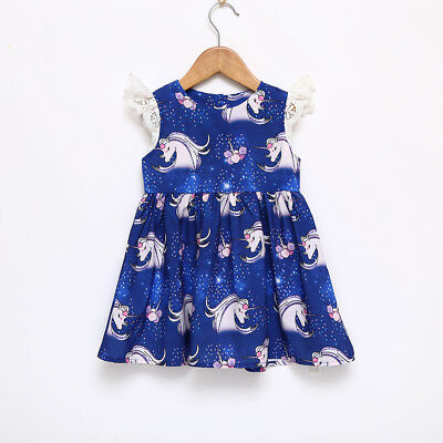 Girl's Toddler Navy Unicorn Pattern Dress Size 2T-6T (Free Shipping)