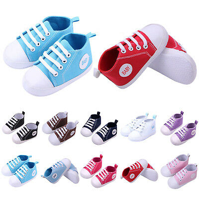 Newborn Baby Boy Girl Shoes Infant Sneakers Toddler Canvas PreWalker Trainers