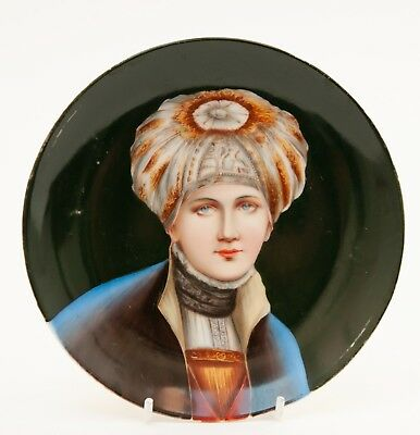 Antique Austro-Bohemian/Vienna Hand Painted Plate Person in Bonnet after Menzler