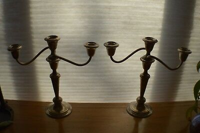 "Pair GORHAM Puritan 808/1 Sterling Silver 3 Light Candelabras 11.5"" Convertible"