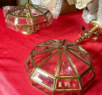 Pair Of Art Deco Style Ceiling Lights Leaded Bevelled Glass Quality Lights Super