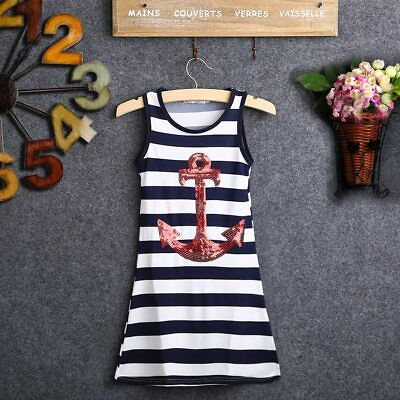 S-019 Girl's Anchor Navy Striped Maxi Sundress Casual Size 3T-7Y (Free Shipping)