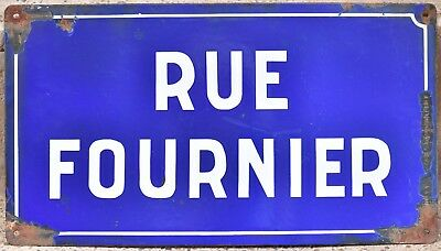 Old blue French enamel street sign plaque road name plate rue Fournier baker