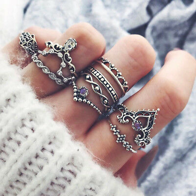 9pcs Women Vintage Knuckle Rings Boho Geometric Flower Crystal Ring Jewelry S