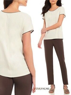 dcb57d07543 148.00 Nwt Eileen Fisher M/M Bone Bateau Neck Stretch Silk Jersey Top