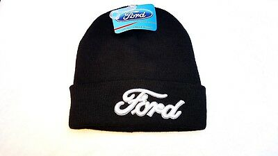 Ford Motor Co Knit Beanie Hat Ski Cap Classic Black Cuffed Toque Licensed Nwt