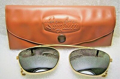 "Vintage *AO USA 1950s American Optical Rare ""Clip-on"" 48 *Mint Sunglasses & Case"