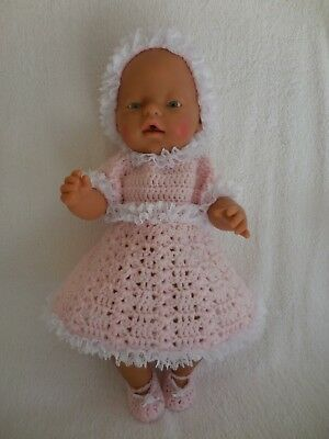 """Baby Born 17""""  Dolls Clothes   Pink With Lace Hand Crochet  Outfit Set"""